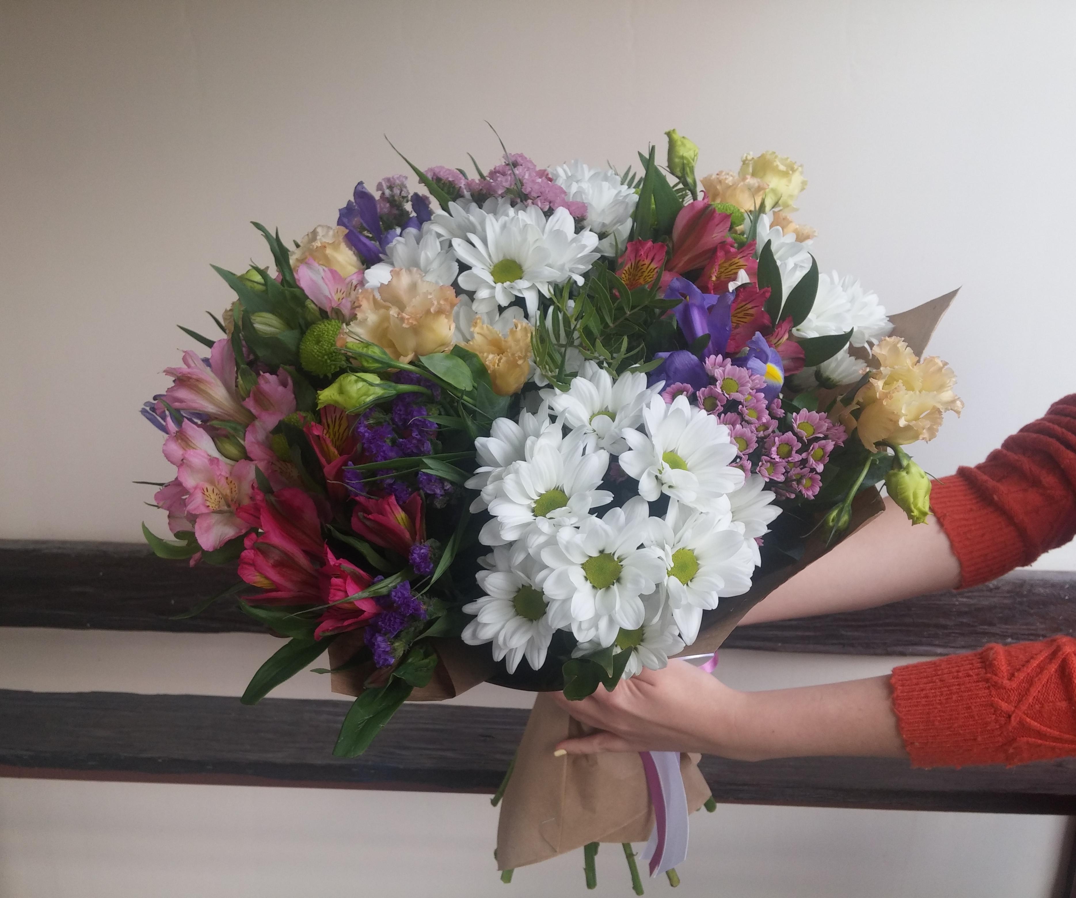 букеты из хризантем и альстромерий фото можно
