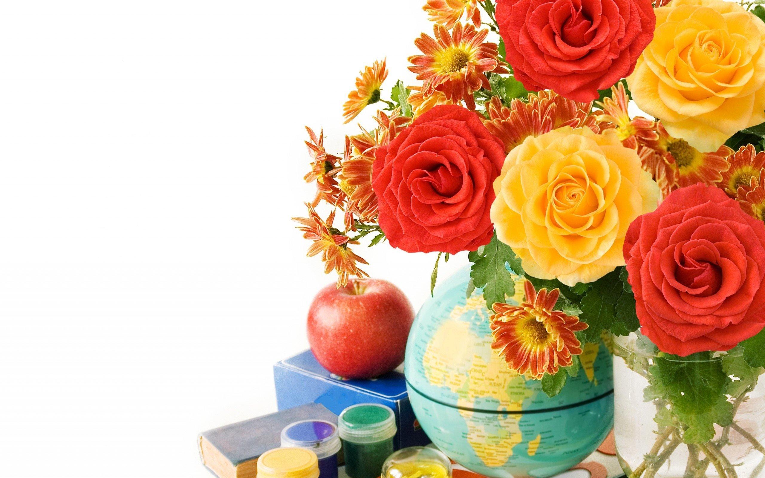 Открытки с цветами школа, открытке
