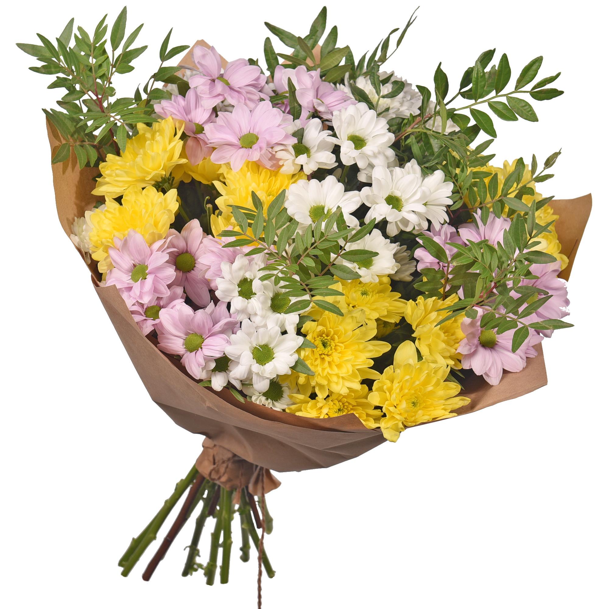Букет из сосны и хризантем фото