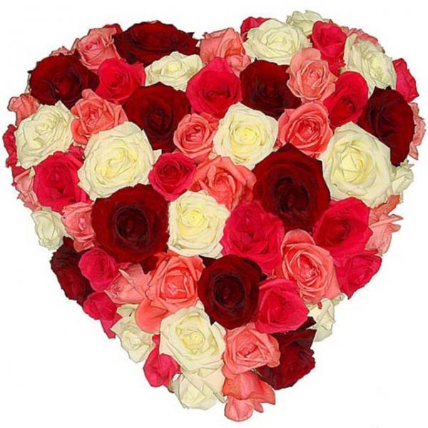 Открытка с сердцем из цветов, картинки надписями